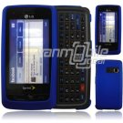 """Dark Blue Hard 2-Pc """"Rubberize"""" Plastic Snap On Faceplate Case for LG Rumor Touch (Sprint)"""