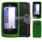 "Green Hard 2-Pc ""Rubberize"" Plastic Snap On Faceplate Case for LG Rumor Touch (Sprint)"