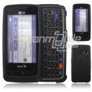 "Black Hard 2-Pc ""Rubberize"" Plastic Snap On Faceplate Case for LG Rumor Touch (Sprint)"