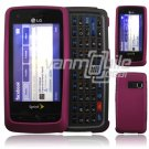 "Hot Pink Hard 2-Pc ""Rubberize"" Plastic Snap On Faceplate Case for LG Rumor Touch (Sprint)"