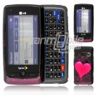 Red Heart Design Hard 2-Pc Snap On Faceplate Case for LG Rumor Touch (Sprint)