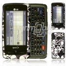 Black/Silver Skulls Design Hard 2-Pc Snap On Faceplate Case for LG Rumor Touch (Sprint)