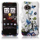 White/Blue Flower Design Hard 2-Pc Snap On Faceplate Case for HTC Droid Incredible (Verizon)