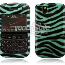 Turquoise/Black Zebra Stripes Design Hard Case for BlackBerry Tour 9600/9630