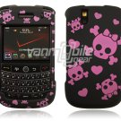 Black/Pink Skulls Design Hard Case for BlackBerry Tour 9600/9630
