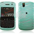 Turquoise/Silver Zebra with Blings Design Hard Case for BlackBerry Tour 9600/9630
