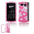 Pink/White Skulls Design Hard 2-Pc Snap On Faceplate Case for Sanyo Incognito 6760 (Sprint)