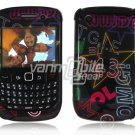 Black Text Design Hard 2-Pc Snap On Plastic Faceplate Case for BlackBerry Curve 8520/8530