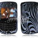Blue Zebra Face Design Hard 2-Pc Snap On Plastic Faceplate Case for BlackBerry Curve 8520/8530