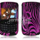 Pink Zebra Face Design Hard 2-Pc Snap On Plastic Faceplate Case for BlackBerry Curve 8520/8530