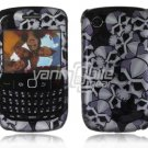 Silver/Black Skulls Design Hard 2-Pc Snap On Plastic Faceplate Case for BlackBerry Curve 8520/8530