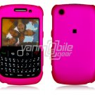 "Hot Pink Hard ""Rubber Feel"" 2-Pc Faceplate Case for BlackBerry Curve 8520/8530"