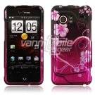 Pink Heart and Flower Design Hard 2-Pc Snap On Faceplate Case for HTC Droid Incredible