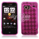 Pink Argyle Design 1-Pc Hard Rubber Case for HTC Droid Incredible (Verizon Wireless)