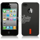 "Black 1-Pc Hard Rubber ""Red Label"" Gel Case for Apple iPhone 4 (16GB/32GB)"