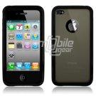 Black Hybrid 1-Pc Hard Case w/ Logo Cutout for Apple iPhone 4 (16GB/32GB)