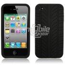 "Black ""Tire Tread"" Design 1-Pc Soft Silicone Cover for Apple iPhone 4"