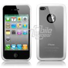 White Hybrid 1-Pc Hard Case w/ Logo Cutout for Apple iPhone 4 (16GB/32GB)