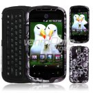 Black/Silver Skulls Design Hard 2-Pc Snap On Faceplate Case for myTouch Slide (T-Mobile)