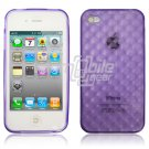 "Purple Hard 1-Pc ""Prism Design"" Rubber Gel Skin Case for Apple iPhone 4 (16GB/32GB)"