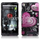 BLACK PINK HEART FACE PLATE CASE for MOTOROLA DROID X