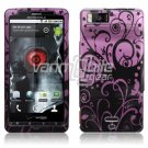 PURPLE BLACK DESIGN HARD CASE for MOTOROLA DROID X 810