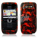BLACK/RED FLORAL STARS CASE COVER + SCREEN GUARD 4 NOKIA E71 E71X