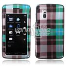 TURQUOISE BLUE PLAID ACCESSORY CASE for LG VU PHONE NR