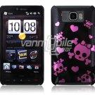 BLACK PINK SKULL 1-PC CASE COVER for TMOBILE HTC HD2 NR