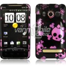 BLACK PINK SKULL FACE PLATE CASE for SPRINT HTC EVO 4G