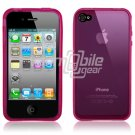 PINK SEE THRU RUBBER SKIN CASE for IPHONE 4 4TH GEN 4OS