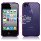 PURPLE SEE THRU RUBBER SKIN CASE for IPHONE 4 4TH GEN 4OS