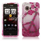 Pink Peace Hard 2-Pc Snap On Faceplate Case for HTC Droid Incredible (Verizon Wireless)