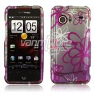 Squiggly Flowers Design Hard 2-Pc Snap On Faceplate Case for HTC Droid Incredible (Verizon Wireless)