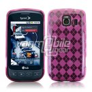 PINK ARGYLE DESIGN TPU CASE for LG OPTIMUS S