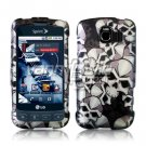 BLACK/SILVER SKULLS DESIGN CASE for LG OPTIMUS S