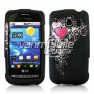PINK HEART SWIRL RUBBERIZED DESIGN CASE for LG VORTEX