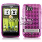 PINK ARGYLE DESIGN TPU CASE + CAR CHARGER for HTC THUNDERBOLT