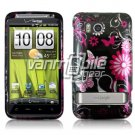 BLACK PINK BUTTERFLY GLOSSY DESIGN CASE FOR HTC THUNDERBOLT