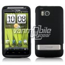 BLACK RUBBERIZED CASE + CAR CHARGER for HTC THUNDERBOLT