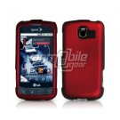 RED HARD RUBBERIZED CASE + Screen Protector + Car Charger for LG OPTIMUS S