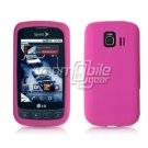 HOT PINK SOFT SILICONE SKIN CASE + Car Charger for LG OPTIMUS S