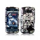 BLACK/SILVER SKULLS DESIGN CASE + Screen Protector + Car Charger for LG OPTIMUS S