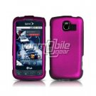 ROSE PINK HARD RUBBERIZED CASE + Screen Protector + Car Charger for LG OPTIMUS S