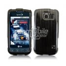 BLACK/SILVER VERTICAL STRIPES DESIGN CASE + Screen Protector + Car Charger for LG OPTIMUS S