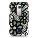 BLACK FLOWERS DESIGN CASE + LCD SCREEN PROTECTOR + CAR CHARGER for HUAWEI ASCEND