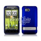 BLUE RUBBERIZED CASE + Screen Protector + CAR CHARGER for HTC THUNDERBOLT