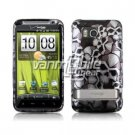 BLACK SILVER SKULLS GLOSSY DESIGN CASE + Screen Protector FOR HTC THUNDERBOLT