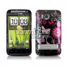 BLACK PINK BUTTERFLY GLOSSY DESIGN CASE + Screen Protector + Car Charger FOR HTC THUNDERBOLT