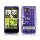 PURPLE ARGYLE DESIGN TPU CASE + Screen Protector + Car Charger for HTC THUNDERBOLT